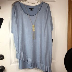 I. N. Studio blue Rayon top and gold necklace 1X